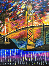 Abstract Golden Gate Bridge painting