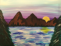 Lake and Mountains painting
